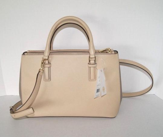 Tory Burch Leather Satchel in Toasted Wheat/French Grey 275 Image 1
