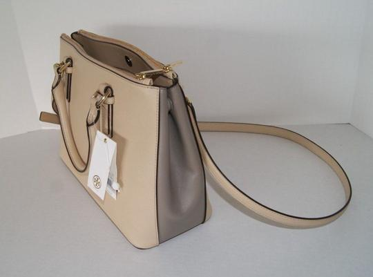 Tory Burch Leather Satchel in Toasted Wheat/French Grey 275 Image 4