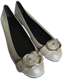 Gucci Leather Buckle Taupe Flats