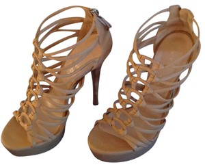 Casadei Leather Strappy Stiletto Tan Platforms