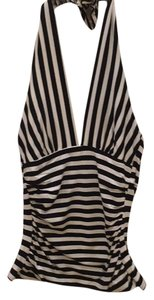 Trina Turk Black/cream striped Halter Top