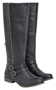 JustFab Tassle Wide Calf Black Boots