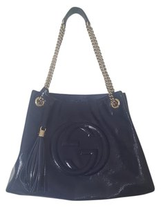 Gucci Patent Leather Tote in Blue