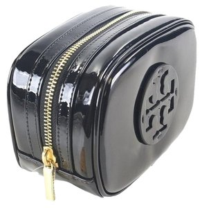 Tory Burch NWT TORY BURCH CLASSIC BLACK PATENT HIGH SHINE COSMETIC BAG