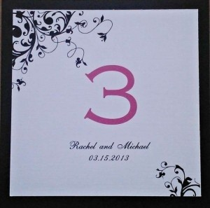 Black White Fuschia Set Of 14 and Table Number