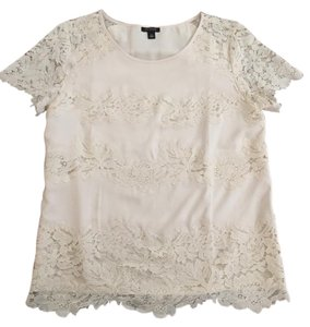 Ann Taylor Lace Cream Ivory Top Beige