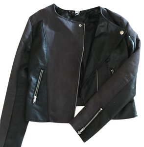 H&M Black and Gray Leather Jacket