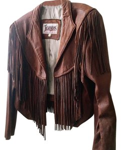 Diamond Leathers Fringed Brown Leather Cognac Leather Jacket