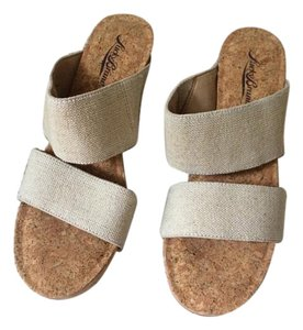 Lucky Brand Wedge Strappy Cork Beige Wedges