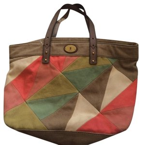 Fossil Patchwork Canvas Tote in Multi