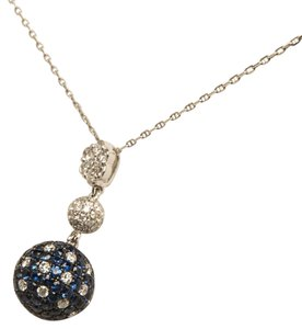 Other BLUE SAPPHIRE & DIAMOND PENDANT 14 KT WHITE GOLD NECKLACE