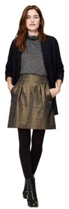 Ann Taylor LOFT Jacquard Metallic Shift Evening Skirt GOLD