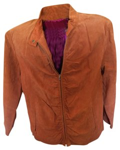 Wilsons Leather Leather Suede Pink Lining orange Leather Jacket