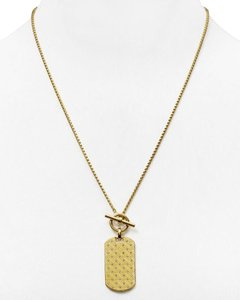 Michael Kors Nwt Michael Kors Gold Tone Monogram Logo Dog Tag Pendant Necklace 22