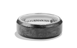 David Yurman Black Size 11 Sterling Silver Forged Carbon Overlay Ring Men's Wedding Band