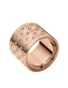 Michael Kors Nwt Michael Kors Rose Gold Tone Signature Logo Stone Ring Sz 8