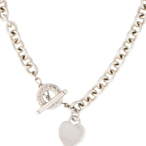 Tiffany & Co. Heart And Toggle Tiffany & Co. Heavy Sterling Silver Necklace.