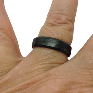 David Yurman forged carbon overlay sterling silver ring