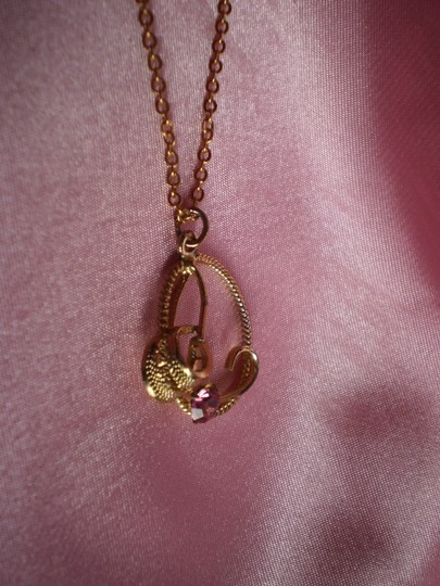 Other Vintage Gold Tone w/Pink Stone Necklace