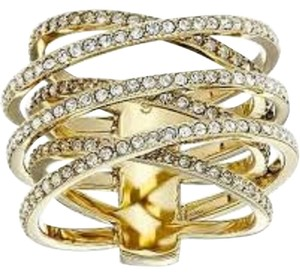 Michael Kors Nwt Michael Kors Gold Tone Statement Pave Criss Cross Ring Size 8