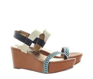 Twelfth St. by Cynthia Vincent Resort Black, gold, aqua blue, brown Sandals