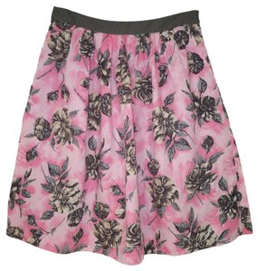 Anthropologie Floral Cotton A-line Skirt