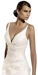 Pronovias Sexy Vnk Beaded Slim Aline Organza Layers Ruffles Hamlet Wedding Dress