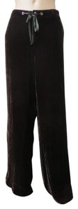 Sundance Velvet Palazzo Size 12 Easy Fit Tie Front Wide Leg Pants Brown