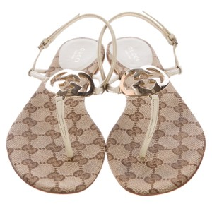 Gucci Leather Ankle Strap Gg Beige, White Sandals