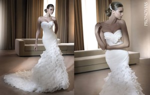 Pronovias Fresa Sexy Mermiad Layers Organza Wedding Dress