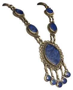 Other Denim Lapis Bezel Set Necklace