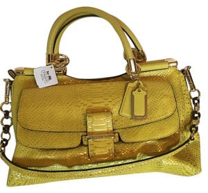 Coach Leather Python Embossed Satchel in Yellow/Gold