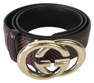 Gucci Gucci Python Belt with Double G Buckle