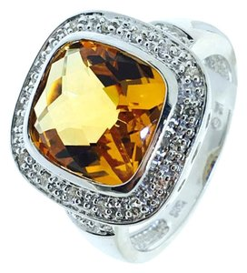 14K White Gold Yellow Crystal Diamonds Ring