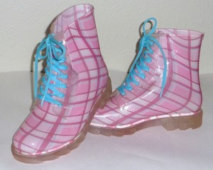 Bongo Rubber Winter Check Plaid Pink/Blue Boots