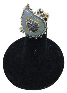 Barbara Bixby Size 6.25, Sterling Silver, 18k Gold, Blue Sapphire, Chalcedoney Ring