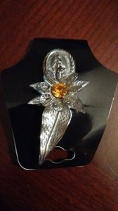 Other Silver Plated Blessed Mother Brooch With Flower and Topaz Stone