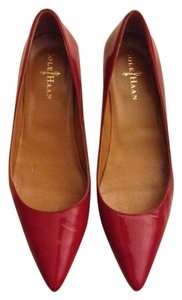 Cole Haan Patent Leather Kitten Fire Engine Red Pumps