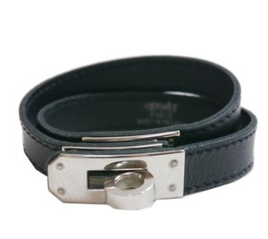Hermès Hermes Black Buckle Leather Bracelet