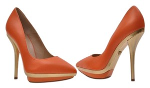 Versace Leather Gold Pump Platform Orange Platforms