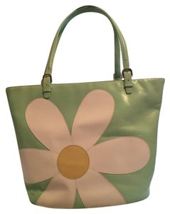 Moschino Tote in mint green with white flower/tangerine back