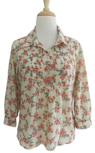 Tiny Floral 3/4 Sleeves Cotton Print Top multi-color