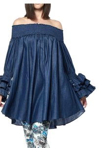 Gracia short dress Blue Tunic Denim Ruffle on Tradesy