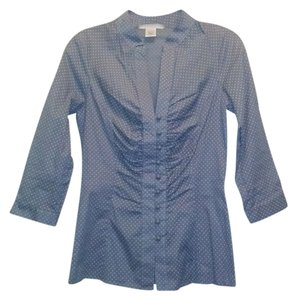 Charlotte Russe Button Down Shirt Blue Polka Dot