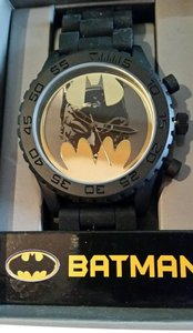 DC Comics New BATMAN DC Comics Gold & Black tone Watch Batman face in Bat Logo