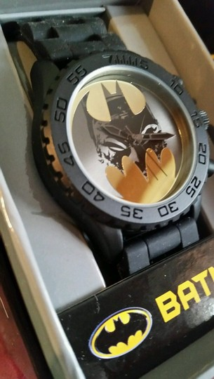 DC Comics New BATMAN DC Comics Gold & Black tone Watch Batman face in Bat Logo Image 1