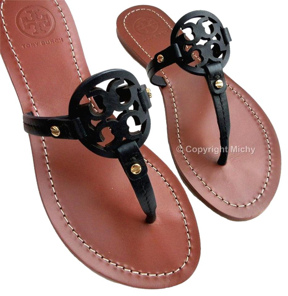 d59b434a5 Tory Burch Bright Navy 404 Mini Miller Veg Leather Flat Sandals Size ...