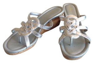Cole Haan Wedge Studded Silver Sandals
