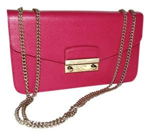 Furla Satchel Saffiano Leather Elena Fuchsia Silvertone Shoulder Bag