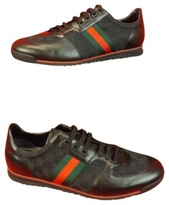 387dcd1cfb6 Gucci Black Men s Canvas Leather Web Strip Lace Up Sneakers 14  15 Sneakers